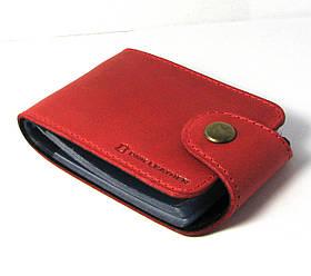 Кожаная визитница красная обложка для визиток, проездных документов, дисконтых карт натуральная кожа
