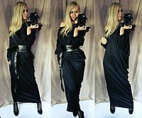 """Стильное черное длинное платье """" Марципан """" с поясом из кожзама. Арт-8831/74"""