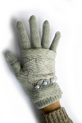 Женские вязаные перчатки, фото 2