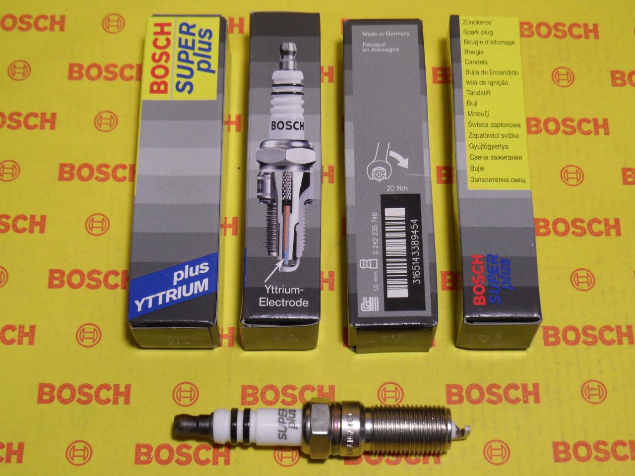Свечи зажигания BOSCH, HR7MPP+, +17, 1.0, Super +, 0242235746, 0 242 235 746,