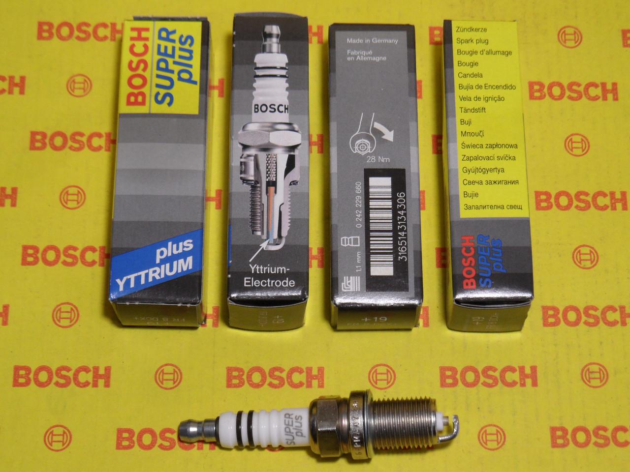 Свічки запалювання BOSCH, FR8DCX+, +19, 1.1, Super +, 0242229660, 0 242 229 660,