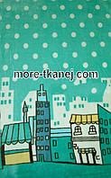 Махровая с Рисунком  (Изумруд с 2-х стор купон город пейзаж  )