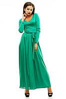 """Зеленое модное платье в пол """" Птичка """" с длинным рукавом. Арт-8835/74"""