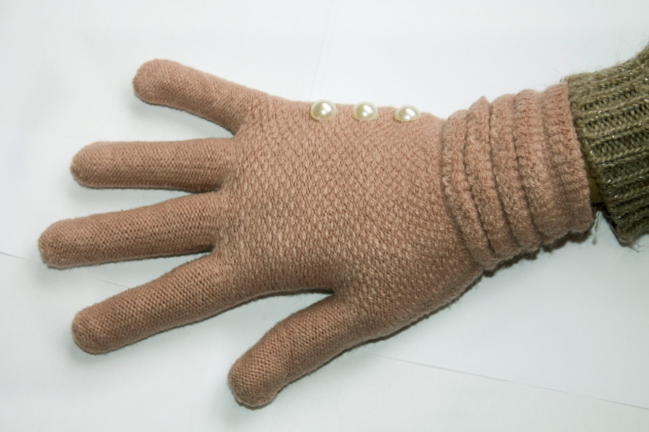 Вязаные перчатки пастельно-розовый