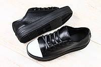 Криперы женские черные кожаные с белым носком