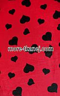 Махровая с Рисунком  (красная  с черными сердцами )