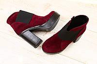 Ботинки замшевые и кожаные на резинке на толстом каблуке разные цвета