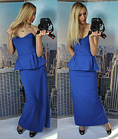"""Стильное длинное платье """" Ника """", сзади на молнии, лиф на косточках, цвет электрик. Арт-8840/74"""