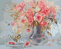 Картина по номерам на холсте без коробки Букет нежных роз (BK-GX8017) 40 х 50 см