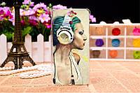 Силиконовый чехол на Sony Xperia V LT25i с картинкой Девушка в наушниках