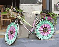 Картина раскраска по номерам без коробки Велосипед цветочницы (BK-GX8939) 40 х 50 см