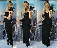 """Стильное черное  длинное платье """" Ника """", сзади на молнии, лиф на косточках. Арт-8840/74"""