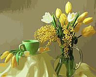 Картина раскраска по номерам без коробки Мимоза и желтые тюльпаны (BK-GX9245) 40 х 50 см