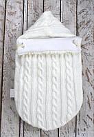 Вязаный конверт-кокон на выписку молочный (подклад тикотаж), фото 1