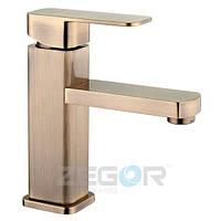 Cмеситель Zegor Z15-LEB1-T для умывальника однорычажный ванный кран (цвет бронза)