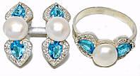 Серебряные женские наборы c цирконом и жемчугом. Серьги +кольцо. Размеры уточняйте.