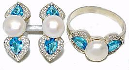 Серебряные женские наборы c цирконом и жемчугом. Серьги +кольцо. Есть 19р.