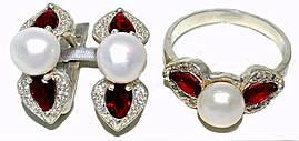 Серебряные женские наборы c цирконом и жемчугом. Серьги +кольцо. Есть  18р.