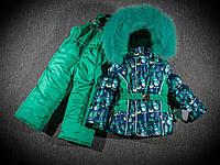 Костюм зимний для девочки (на двойном синтепоне) зеленый