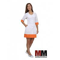 Медицинский халат женский Венеция (белый/оранжевый) №62