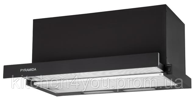 Pyramida TL-60 (1000) black (600 мм.) встраиваемая телескопическая вытяжка, черная эмаль