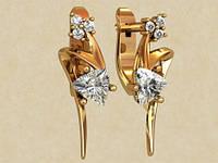 Необычные золотые серьги 585* пробы с крупными Фианитами