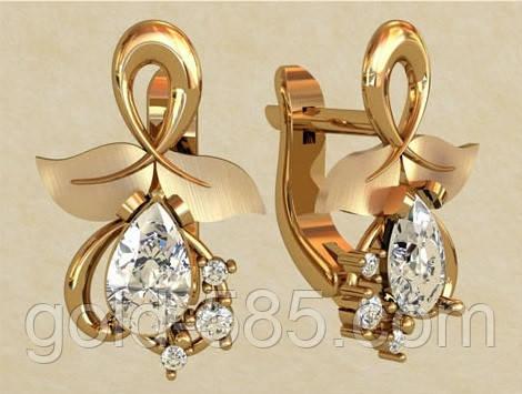 92c1eda698e0 Восхитительные золотые серьги 585  пробы с крупными Фианитами, цена ...