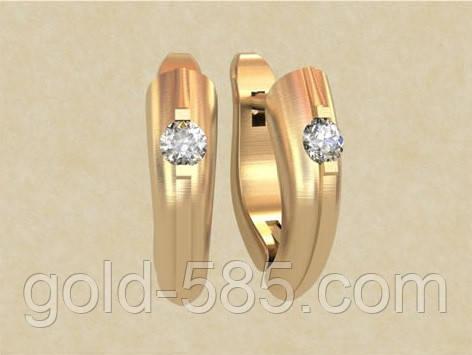 Стильные гладкие золотые серьги 585  пробы со вставками из циркония ... 2ae911649fb