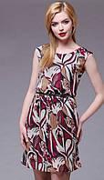 Платье Juanta-2221 белорусский трикотаж из ткани Шифон цвета молочный с бордо