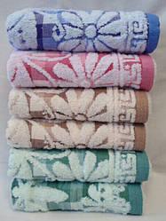 Банное махровое полотенце Ромашка лен с махрой 6 шт в уп. Размер 1.4х70 - 100% хлопок