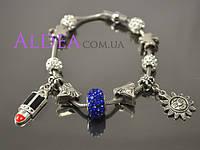 Браслет Пандора с магнитный замком с синей бусиной