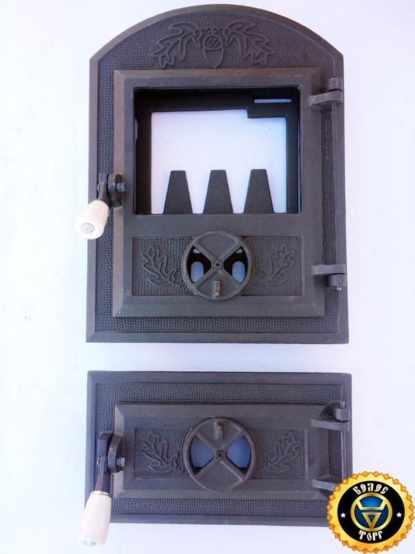 Печная дверца со стеклом Дубок, чугунные дверки для печи и барбекю