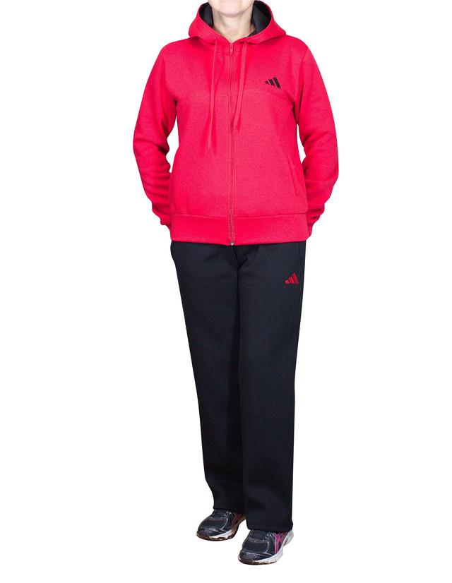 Теплый спортивный костюм батал с красной толстовкой и черными брюками - фото teens.ua