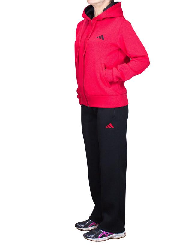 Теплый спортивный костюм батал - красная кофта на змейке и прямые штаны черного цвета - фото teens.ua