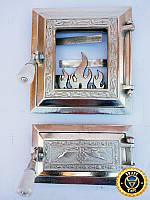 Печная дверца со стеклом Калина Серебристая, чугунные дверки для печи и барбекю