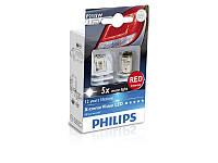 Лампа светодиодная Philips P21/5W RED 12/24V, 2шт/блистер