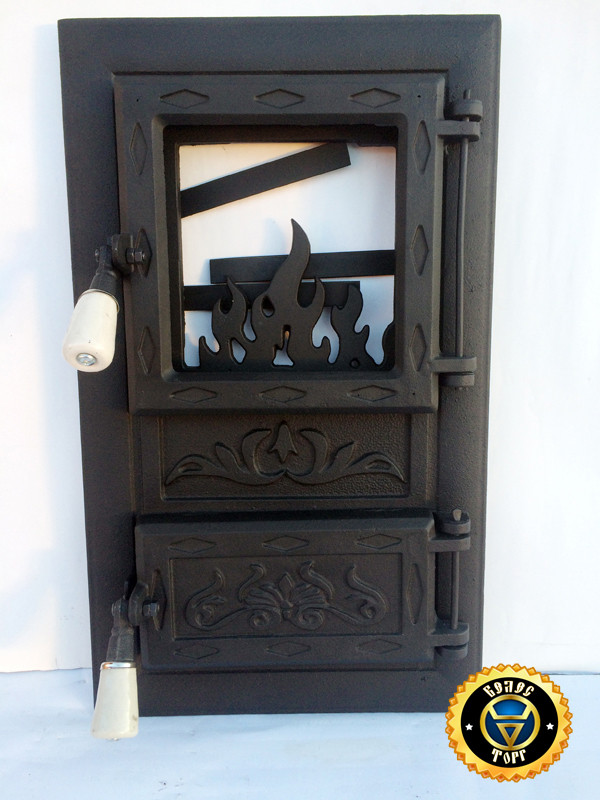 Печная дверца со стеклом Лотос Черный, чугунные дверки для печи и барбекю