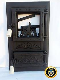 Пічна дверцята зі склом Лотос Чорний