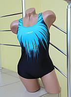 Сдельный яркий купальник Rivageline 8643 бирюзовый с черным код 166Д