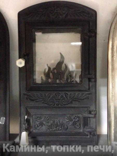 Печная дверца со стеклом Пламенная, чугунные дверки для печи и барбекю