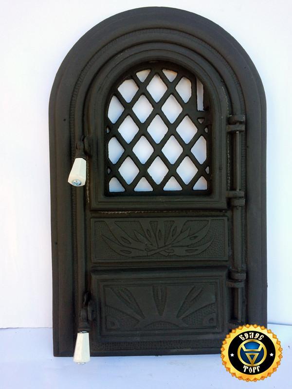 Печная дверца со стеклом Огонь, чугунные дверки для печи и барбекю