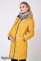 Длинное зимнее двухстороннее пальто для беременных Kristin, горчичное с графитом