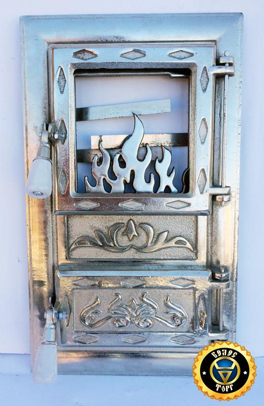 Печная дверца со стеклом Лотос Серебристый, чугунные дверки для печи и барбекю