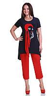 Костюм брючный сине красный большого размера  красивый Andrea Style-1111 белорусский трикотаж