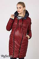 Длинное зимнее двухстороннее пальто для беременных Kristin, темно-синее с бордовым, фото 1