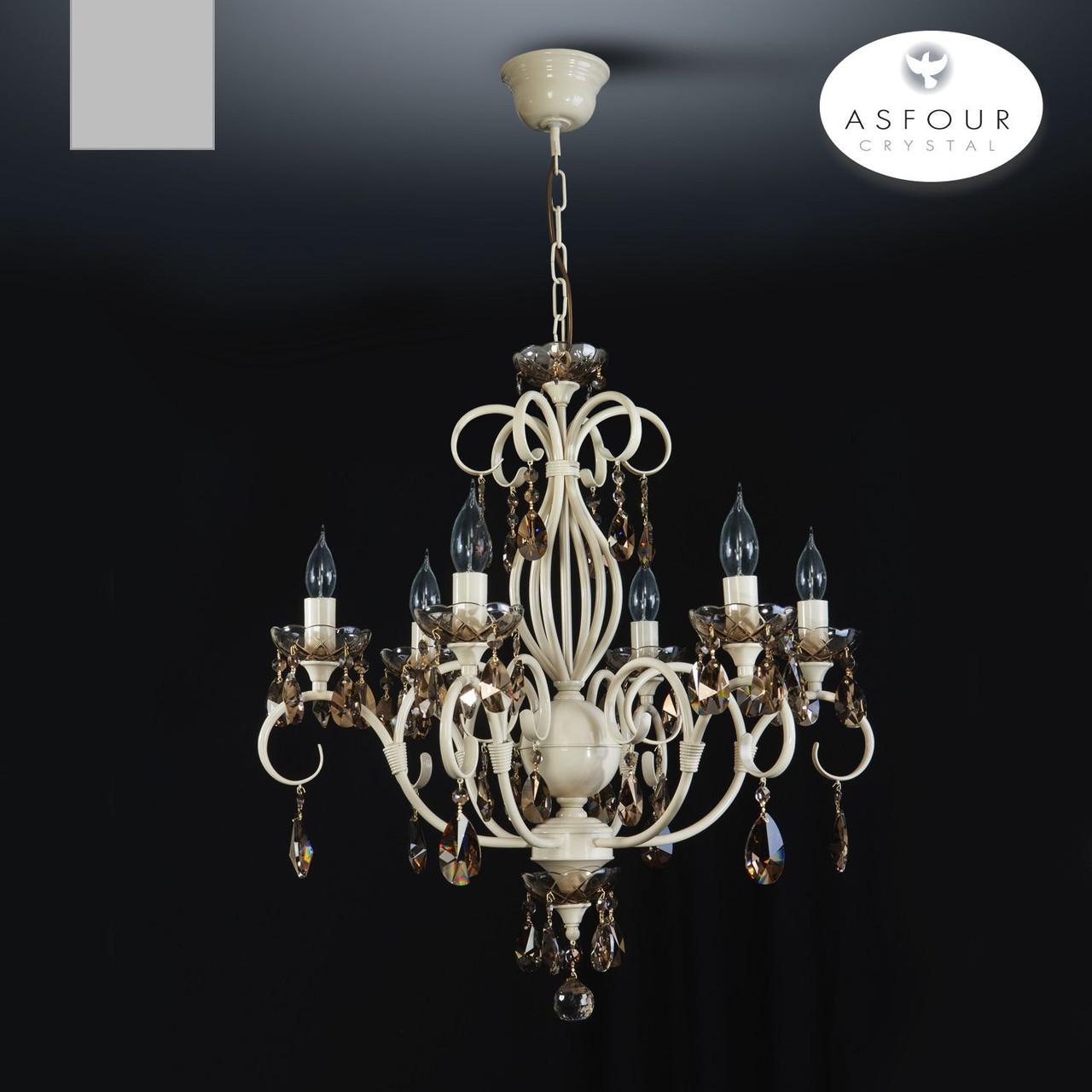 Люстра кремовая с хрустальными подвесками 5-ти ламповая в зал, спальню 11866