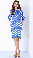 """Платье Matini-3980 цвета голубой """"горох"""" с красным и с желтой отделкой"""