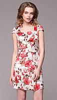 Платье для женщин Juanta-2351 белорусский трикотаж цвета молочный с цветами