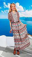 Платье летнее с поясом МиА Мода-703-3 белорусская одежда цвета лепестки