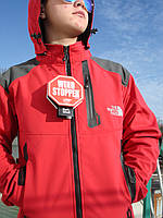 Лыжная куртка термо Windstopper ветронепродуваемая водоотталкивающая красная прорезиненные замки
